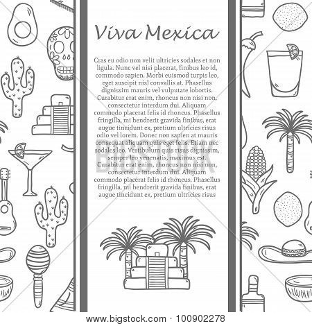Vector travel mexican concept with hand drawn objects and background