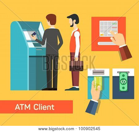 ATM machine money deposit and withdrawal.