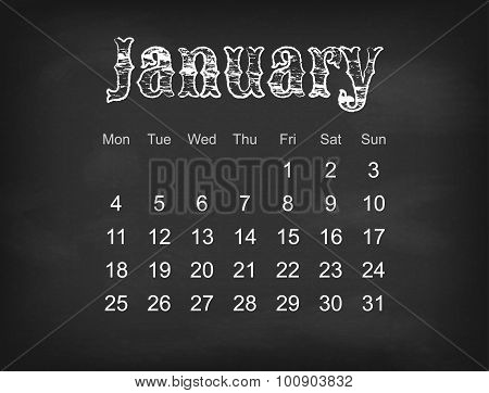 Vector 2016 calendar on black chalk board Europe calendar grid weeks starts on Monday