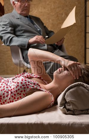 Woman Crying During Psychoanalysis