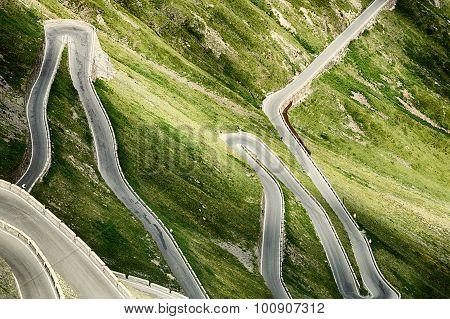 Stelvio Pass Road With Hairpins