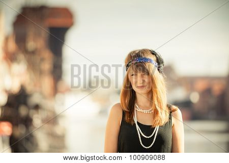 Flapper Girl Woman In1920S Style Standing On The Street