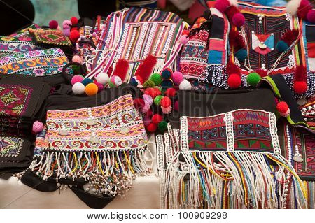 Colorful Clothes Of Mein Minority Hill Tribe In Thailand.
