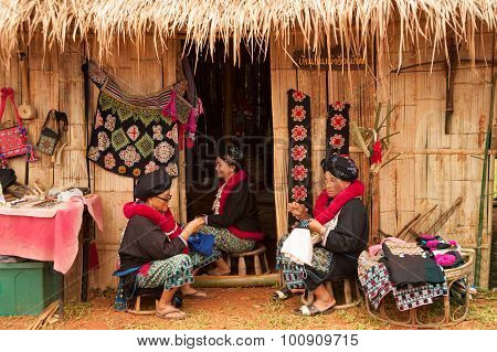 Mein Hill Tribe Embroidery Of Traditional Clothes In Thailand.