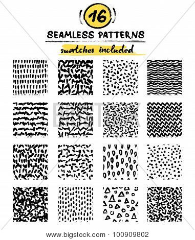Set of hand drawn marker and ink seamless patterns. Black and white simple vector scratchy textures