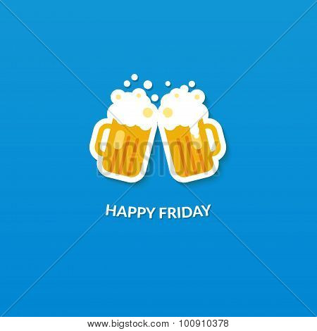 Happy friday card with two clang glasses of beer at blue background. Flat vector