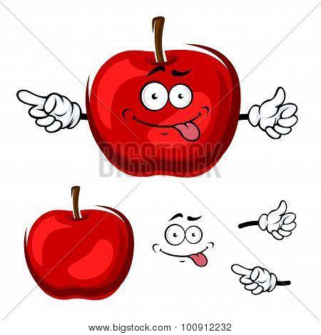 Cartoon isolated red apple fruit