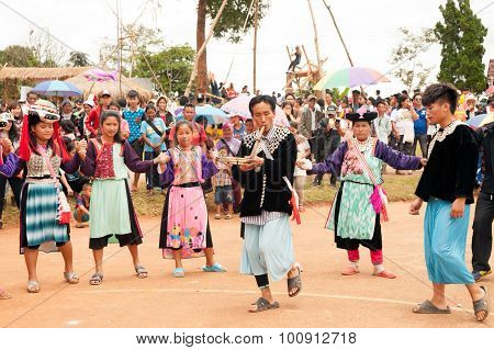 Lisu Hill Tribe Traditional Dancing In Thailand.