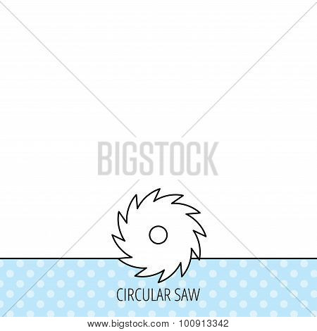 Circular saw icon. Cutting disk sign. Woodworking sawblade symbol. Circles seamless pattern. Background with icon. Vector poster