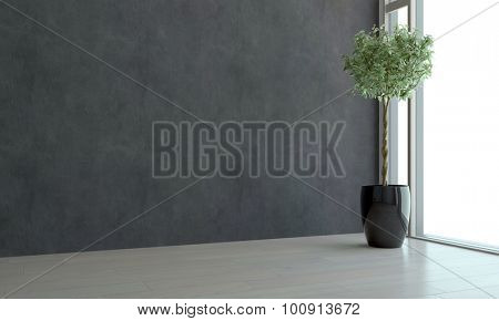 Corner view of an empty room with ceiling to floor view window, dark grey wall and a potted topiary tree in an architectural background. 3d Rendering.