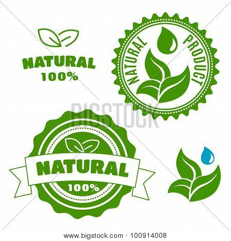 Natural product labels with leaves and drops