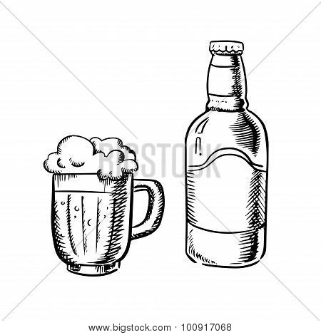 Beer bottle and filled tankard