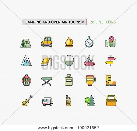 Line Icons Camping Equipment, Open Air Tourism