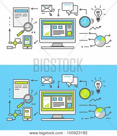Thin line SEO icons. Pictogram for websites and mobile applications. Search engine optimization. SEO optimization, programming process and web analytics elements in flat design. Monitoring, traffic poster