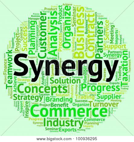 Synergy Word Indicates Working Together And Cooperation