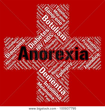 Anorexia Word Represents Food Aversion And Ailment