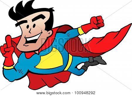 Vector Cartoon Illustration Of An Flying Super Hero