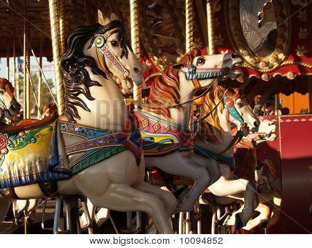 Row of horses on a merry go round