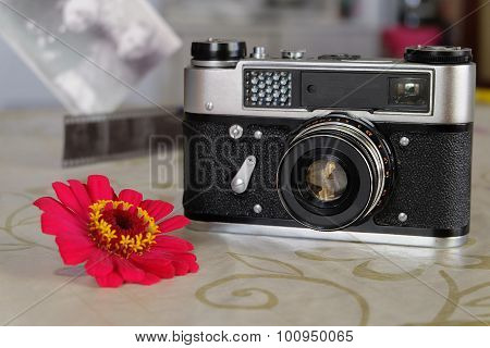 Small-format rangefinder camera unreleased since 1977 in the Soviet Union. Photo intention to make a shallow depth of field. poster