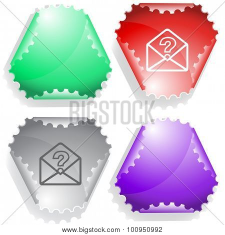 open mail with query sign. Vector sticker.