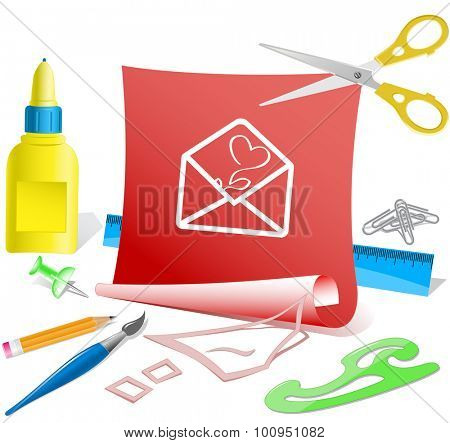 open mail with tulip. Paper template. Vector illustration.