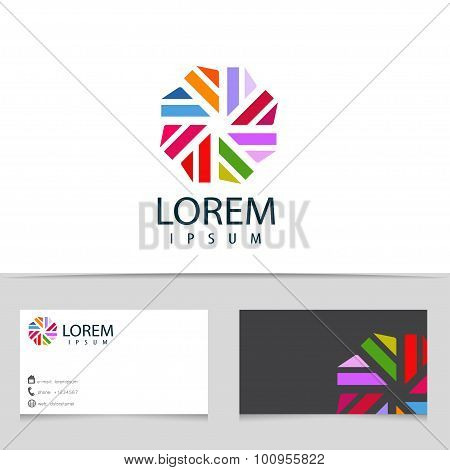Abstract Colorful Infinity Logo Design. Hexagon Logotype With Business Card Template. Vector Creativ