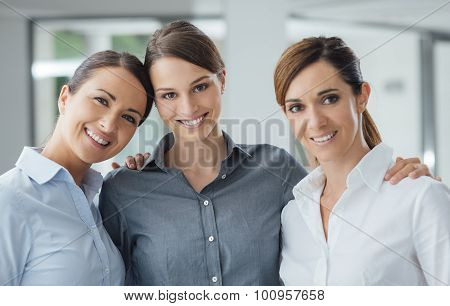 Female Office Colleagues Posing Together