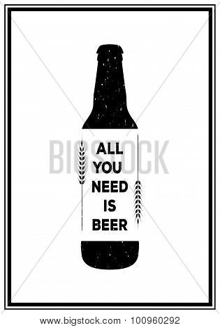 Quote Typographical Background. Vintage beer emblem, label, design element. Typography illustration.