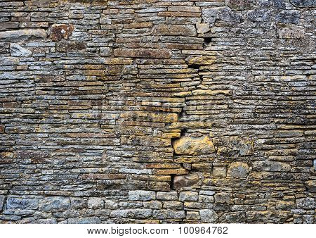 old ancient stone wall detail