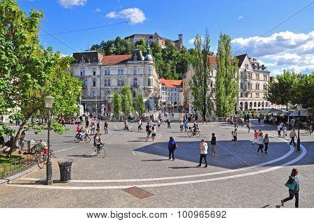 Presern's Square And Ljubljana's Castle
