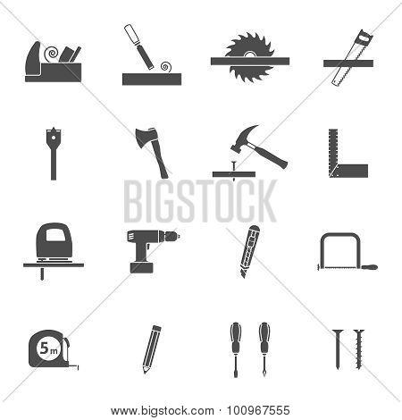 Carpentry tools black icons set