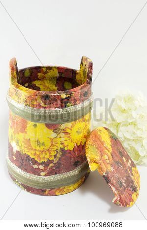 Decoupage Decorated Flower Pattern Jar On White Background