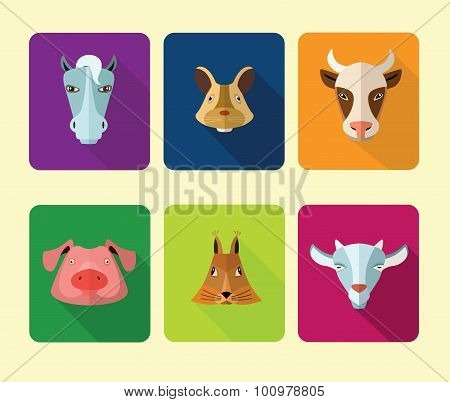 Farm animals icons. Vector format.