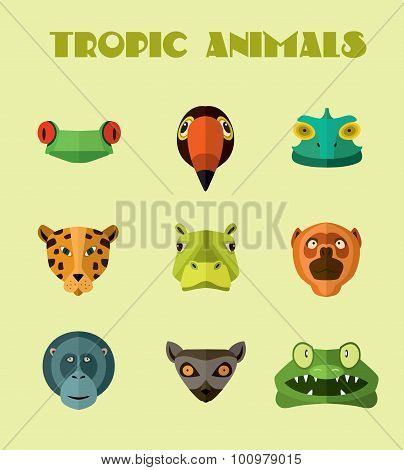 Tropical animals icons. Vector format.
