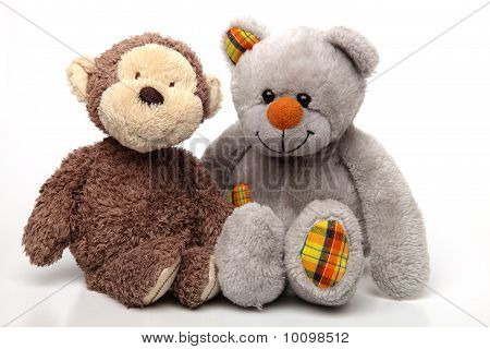 Two Soft Toys On White