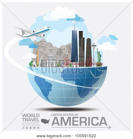 United States Of America Landmark Global Travel And Journey Infographic