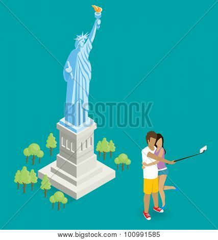 Vector flat isometric couple making selfie near the Statue of Liberty in USA