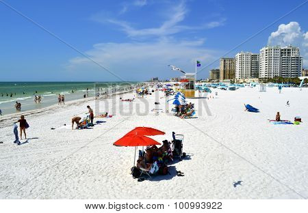 Clearwater Beach Florida USA May 12 2015 tourists on the beach enjoying the sun
