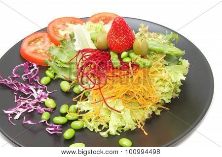 Close Up Vetgetable And Fruit Salad,fusion Food