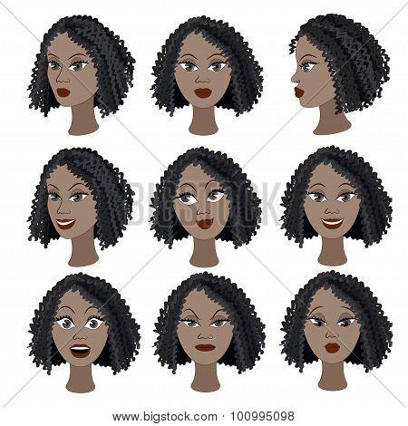 Set Of Variation Of Emotions Of The Same Black Girl