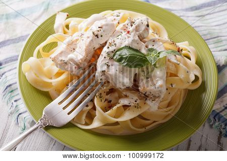 Pasta Alfredo With Chicken Closeup On A Plate. Horizontal