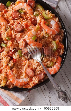 Creole Cuisine: Jambalaya Close-up On A Plate. Vertical Top View