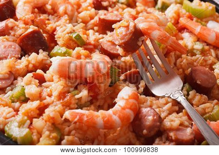 Creole Cuisine: Jambalaya Macro. Horizontal Background