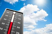 Thermometer indicates high temperature on the blue sky three-dimensional rendering poster