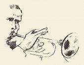 Concept for jazz poster Man playing trumpet Vintage hand drawn illustration sketch poster
