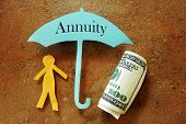 Annuity umbrella over a paper cutout person and hundred dollar bill poster