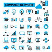 Computer network concept icons: cloud computing,  server,  server room,  data center,  server rack,  computer server, computer technology, system administration. Vector illustration poster