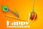 easy to edit vector illustration of Happy Krishna Janmashtami poster