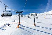 Ski lift above the ski pistes at the ski resort Soelden in Austria. poster