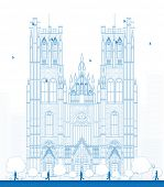 Outline building of the Cathedral of St Michael and St Gudula in the center of Brussels, Belgium poster